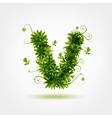 Green eco letter V for your design vector image vector image