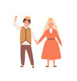 happy children play prince and princess in theater vector image vector image