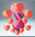 hearts valentines day music note icon vector image