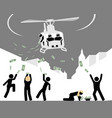 helicopter throwing money to people vector image vector image