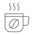 hot coffee thin line icon coffee and drink coffe vector image