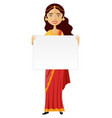 indian woman standing holding blank sign isolated vector image