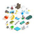 inflammable icons set isometric style vector image vector image