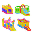 inflatable colorful castle for outdoor kid fun vector image