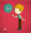 isometric cute boy cartoon text box vector image