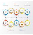 job flat icons set collection of statistics pie vector image