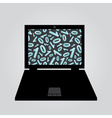 laptop binary code eps10 vector image vector image