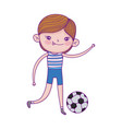 little boy playing with football ball cartoon vector image