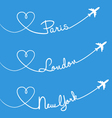 Love flying Paris London New York set vector image