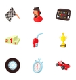 Machine race icons set cartoon style vector image vector image