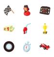 Machine race icons set cartoon style vector image vector image