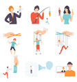 manipulation people set puppet people vector image vector image