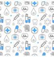 medical icons seamless pattern health care vector image
