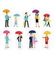 people under umbrella of various colors set men vector image