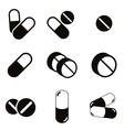 Pills and capsules icon set vector image vector image