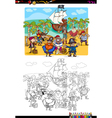 pitrate group coloring page vector image vector image