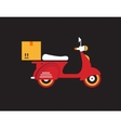Red retro vintage delivery motor bike icon vector image