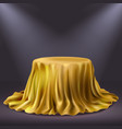 round show table stage covered with golden cloth vector image vector image