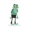 sad green zombie character in cartoon style vector image