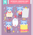 school design set with cartoon character vector image