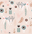 seamless pattern with creative floral dears vector image vector image