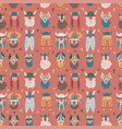 seamless pattern with hand drawn heads many vector image