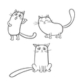 set of cute cartoon cats in various poses vector image