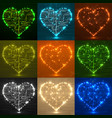 set valentines background with circuit board vector image vector image