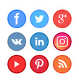 social media icon set for blog contacts and app vector image