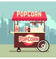 Street food vending cart with popcorn machine vector image vector image