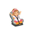 sweet little girl sitting in grey car seat safety vector image vector image