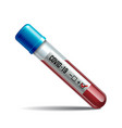 test tube with blood sample for covid-19 vector image vector image
