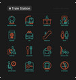 train station thin line icons set vector image
