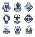 vintage boxing sports club labels and vector image vector image
