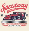 vintage retro shirt design racing car vector image vector image