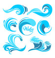water splashes and ocean waves graphic vector image vector image