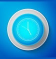white clock icon on blue background time icon vector image vector image