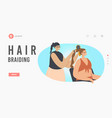 woman visiting beauty salon landing page template vector image vector image