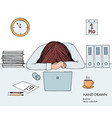 young businesswoman laid her head down on the vector image