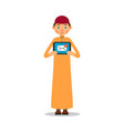 muslim with tablet young muslim guy stands and vector image