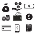 9 icon set dollar bag money on hand money coin vector image vector image
