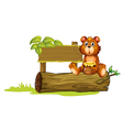 A bear sitting on a trunk vector image vector image