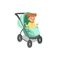 adorable little girl sitting in an turquoise baby vector image
