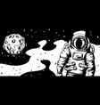 astronaut with moon vector image vector image