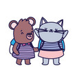 back to school education cat and bear vector image vector image