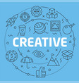 blue line flat circle creative vector image