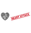 cardiology heart pulse mosaic and grunge heart vector image vector image