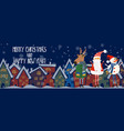 cartoon banner for holiday theme with deersanta vector image vector image