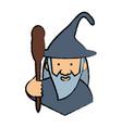cartoon wizard icon vector image vector image