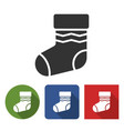 christmas stocking icon in different variants vector image vector image